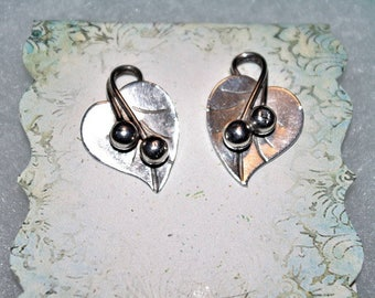 Sterling Silver LEAF EARRINGS by George Jenson - Clip Ons - TMS