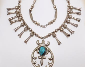 Old Pawn Turquoise Sterling Silver Squash Blossom Necklace Sandcast Navajo
