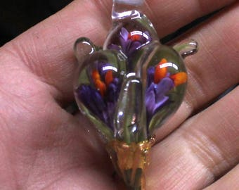 3D crocuses bouquet focal bead \pendant