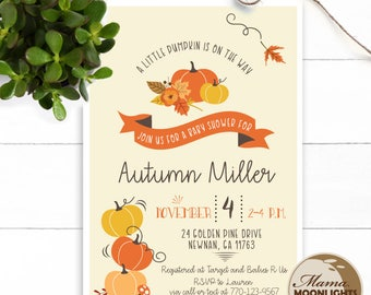 Little Pumpkin Baby Shower Modern Whimsical Printable 5x7 Invitation - Fall Leaves, Flowers (Orange, Yellow, Brown) Thanksgiving Invite