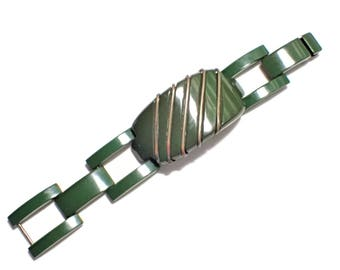 Spinach Bakelite with Brass Inlay Vintage Track Link Bracelet