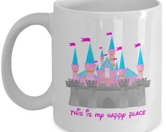 This is My Happy Place Disney Castle Gift Mug Coffee Cup Disneyland Fun
