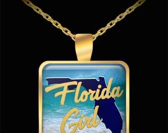 Florida Girl Gift Necklace State Love Heart (Choice of Metal) Daughter Niece Wife Girlfriend Friend Beach Ocean Sunshine Jewelry