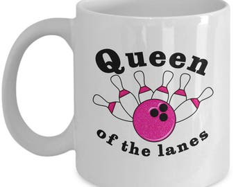 Queen of the Lanes Funny Bowling Mug Gift for Bowler Ball Bowl Pins Sarcastic Coffee Cup