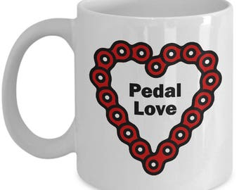 Pedal Love Funny Bicycle Mug Gift Cycling Riding Cycle Bicycling Ride Bike Chain Heart Coffee Cup