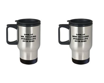 Mr Freaking Personality and Miss Couple Funny Travel Mug Gift SET of TWO Sarcastic Coffee Cup