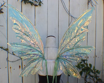 Large Green Iridescent 6 Wing Woodland Fairy Wings