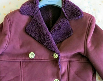 Vintage purple violet coat - double breasted - retro 60s 70s - women - a line - mod - size 10