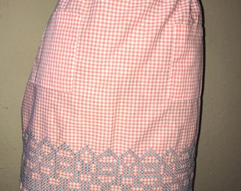 TWO vintage mother and daughter/sister and sister/grandma and grandchild aprons.  Coral & white checked gingham  bothvare identical.