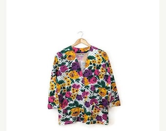 ON SALE Vintage Colorful Floral Printed Cotton Light Cardigan from 1980's*