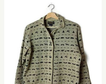 ON SALE Vintage Woolrich Animals/Trees printed Sweatshirt Cardigan from 90's*