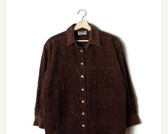 ON SALE Brown Corduroy Long Sleeve Blouse from 90's*