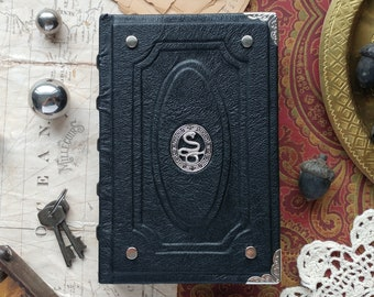 Handmade leather sketchbook, silver snake, dark mystery goth serpent journal, wicca wiccan larp roleplay black book, reptilian book magic
