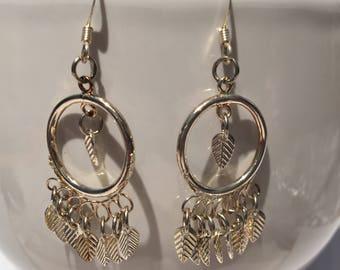 Silver feather hoop chandelier earrings