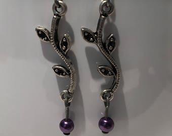 Vine finding and purple crystal bead earrings