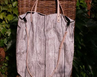 "Large canvas shopper ""Wood-look"" with leather handles"