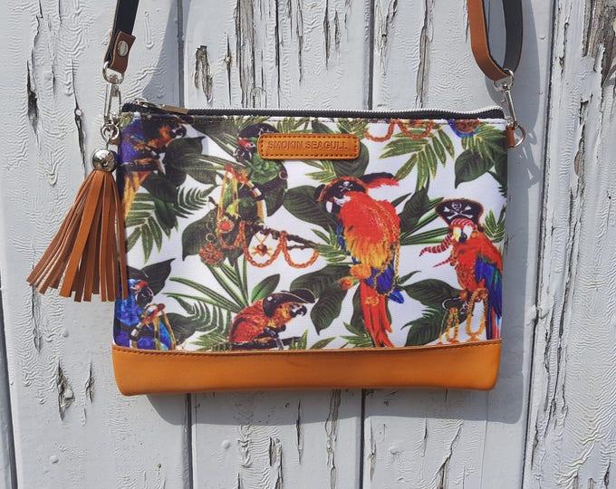 Pirate Parrot Handbag - Treasure Island Summer Holiday Flamingo Sailor Brown Bag
