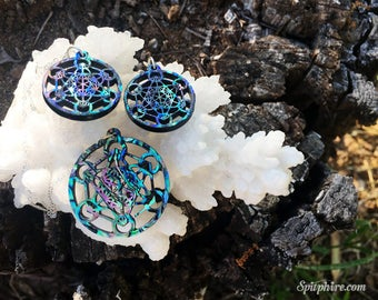 Metatron's Cube Earring and Necklace Set - Abalone