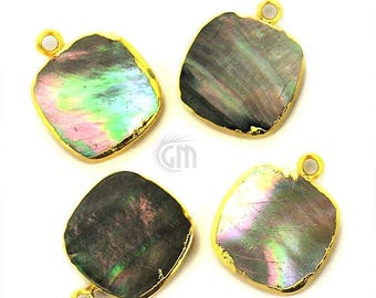 30% OFF 22k Gold Electroplated Abalone, 16mm Square Shape Single Bail Gemstone Charms Necklace Connector/Pendant (SEE-10094)