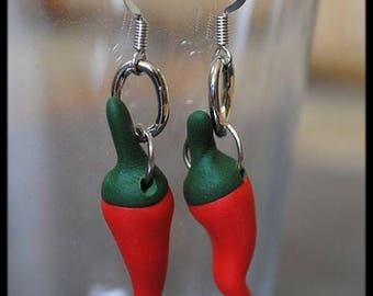 Red pepper in polymer clay earrings