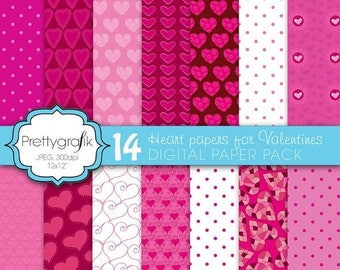 80% OFF SALE 14 valentine heart digital paper, commercial use, scrapbook papers, background - PS591