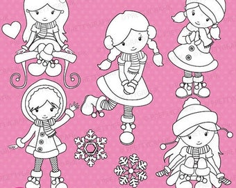 80% OFF SALE winter girls stamp commercial use, vector graphics, digital stamp, digital images - DS621