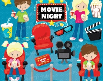 80% OFF SALE Movie night clipart, clipart commercial use, vector graphics, digital clip art, images - CL920