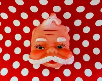 Vintage Santa Doll Head Mask Christmas Craft Supply St Nick Kitschy Altered Art