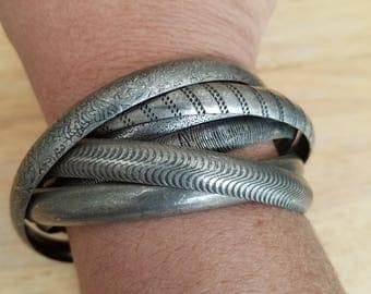 Vintage Dark Silvertone Gunmetal Intertwined Bangle Bracelets