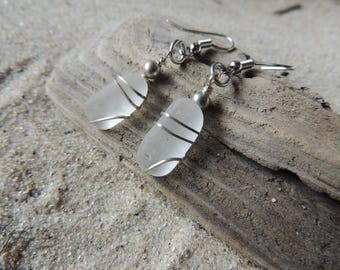 Handmade Natural Surf Tumbled White Sea Glass Earrings with Silver Accents