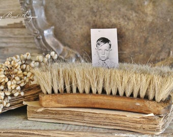 Vintage Shoe Brush NATIONAL Horse Hair Black Farmhouse Decor Fixer Upper Decor LARGE No.31
