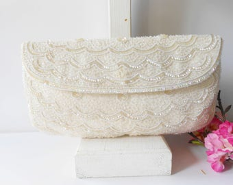 French Bag Vintage, White Beaded Evening Bag, White Wedding Purse, Vintage Magid Bag, Hand Bead France, Beaded Clutch Bag,   EB-0548