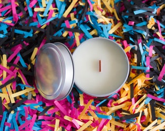 4 PACK of 4 oz. Soy Candles / CMYK / Scented Candles / Wood Wick / Pine / Rose / Clove / Tobacco / Orchid Blossom / Amber / Cactus Flower