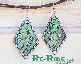 Leather Earrings- Green Symbols