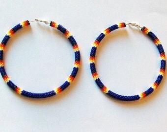 Beaded Hoop Earrings - Extra Large Hoop Earrings - Hoops - Beaded Earrings - Cobalt Earrings - Seed Bead Earrings - Earrings - Gifts For Her