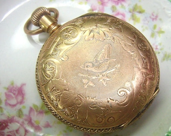 Antique Vintage Full Hunter Pocket Watch Case...Numbered...Embossed Bird Pattern...Gold Plated...Case Only