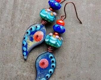 Funky fabulous Paisley enamel glass finding dangle earrings, lampwork beads, Artisan handmade OOAK boho modern art lightweight jewelry
