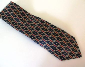 Geoffrey Beene Silk Tie, Navy, Red, Gold