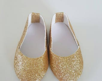 Gold glitter Flats for 18 inch dolls by The Glam Doll