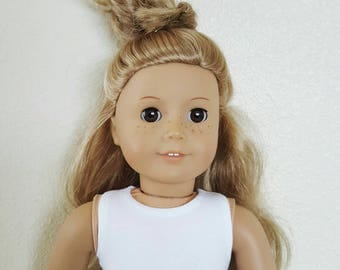 White Sleeveless crop Top for 18 inch dolls by The Glam Doll
