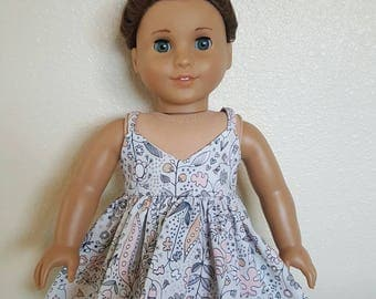 Grey, White and Blush Floral SunDress for 18 inch dolls by The Glam Doll