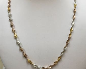 Made In Italy  Two Tone  925  Sterling Silver  Twisted Necklace !!!