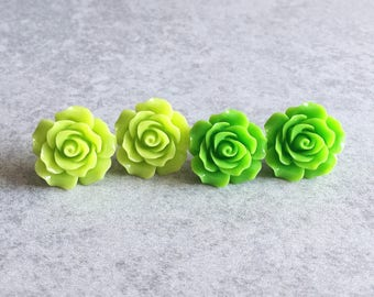 Lime Green · Shamrock Green // Rose Stud Earrings - 20mm Resin Flower Cabochons, Stainless Steel Stud Backs, Shabby Chic, Bridesmaid Jewelry