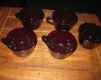 "ANTIQUE RUBY RED-5 Cups 3 1/2"" Across Top 2 1/2"" High Each Cup Holds 6 Ounces Good To Complete A Set Or Add To A Set"