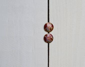 1970s Floral Cloisonne Earrings / vintage floral earring