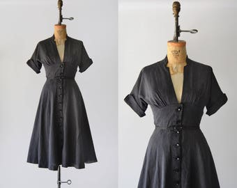 RESERVED Day by Day Dress / 1950s cotton dress / vintage pinstriped dress