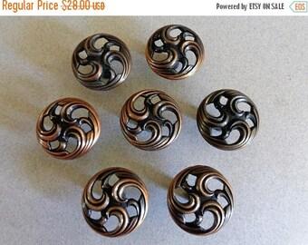 Antique Copper Cabinet Knobs 7 round JB Knobs pierced Swirl design Dresser Drawer Hardware knob