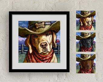"""Framed """"Cowboy Lab"""" Print Labrador Retriever Art 16""""x16"""""""