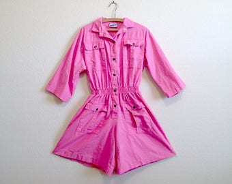 Pink Cotton Romper Medium - Snap Front w/ pockets