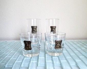 Unicorn Cocktail Glasses - 4 glasses with unicorn medallion - Mid Century barware